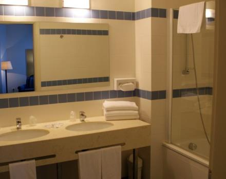Superior room deluxe bath. Double sink and bathtub
